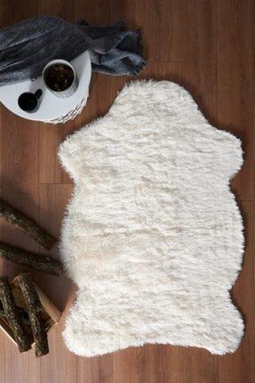 Markaev Kaymaz Taban Yumuşak Tavşan Tüyü Krem Post Halı