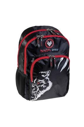 Busquets Unisex Siyah Bestial Wolf Okul Sırt Çantası