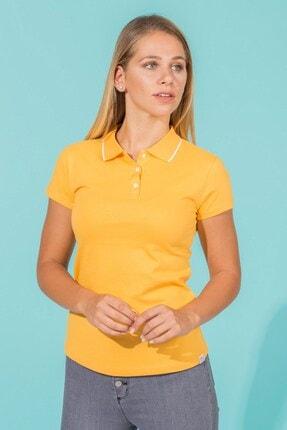 BARRELS AND OIL Kadın Hardal Basic Pike Polo Yaka T-shirt