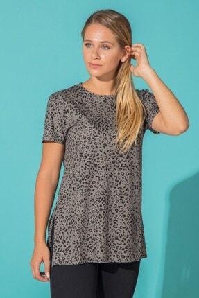 BARRELS AND OIL Kadın Antrasit  Leopar Desen Yanı Yırtmaçlı T-shirt
