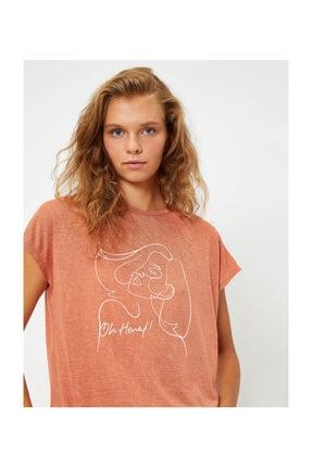 Koton Kadın Kahverengi T-Shirt 1KAL18098IK