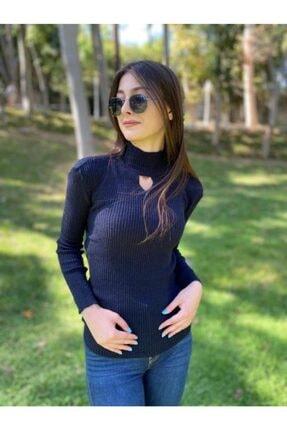 Benginin Butiğii Kadın Lacivert Degaje Yaka Triko Kazak