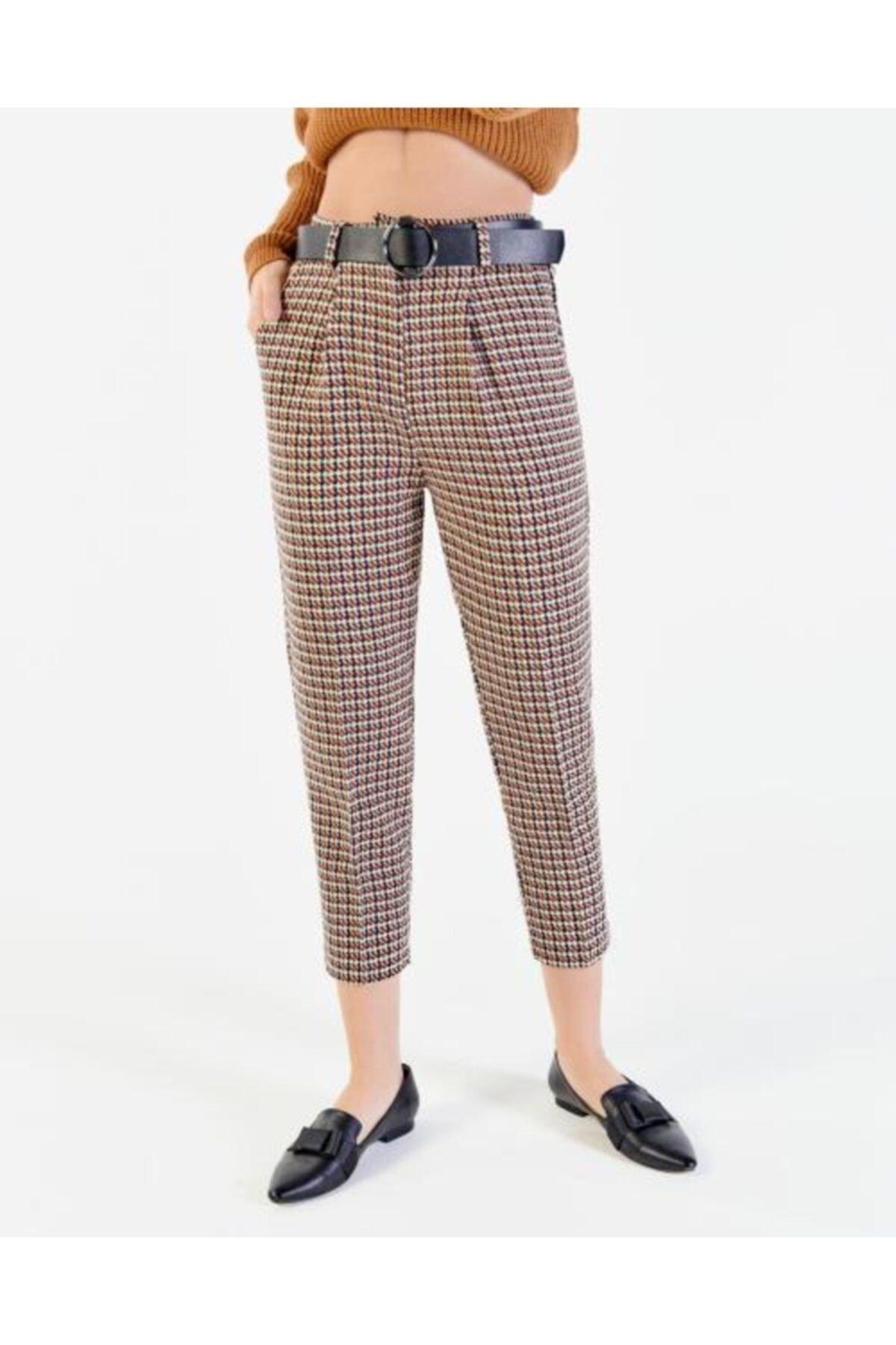 Vision Kadın Kahverengi  Kemer Detaylı Pantolon 1