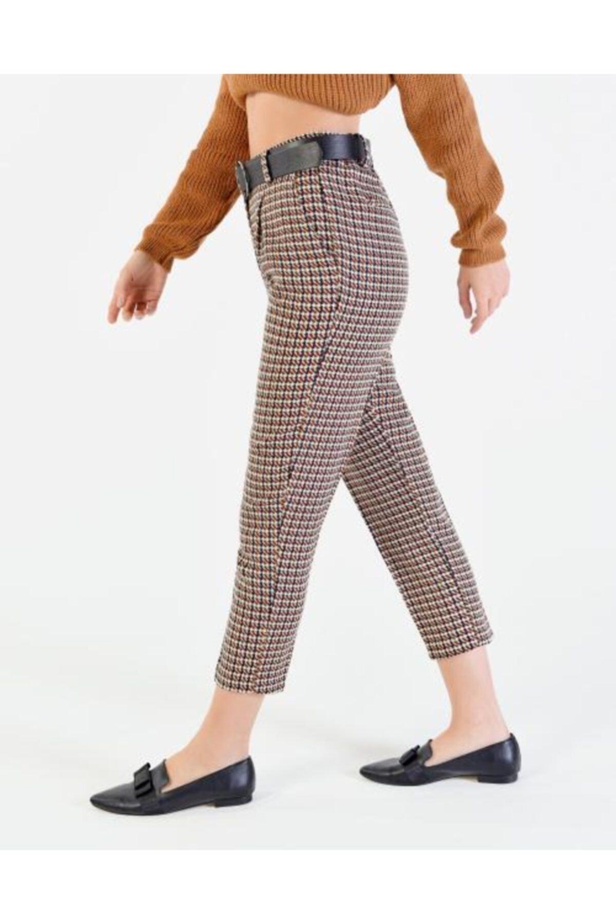 Vision Kadın Kahverengi  Kemer Detaylı Pantolon 2