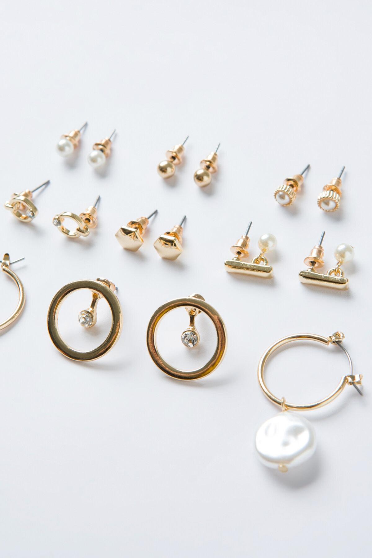 Penti Gold Pearl Küpe Set 2