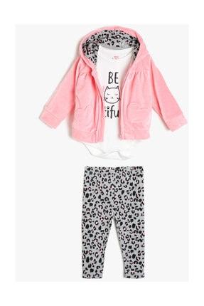 Koton Kız Bebek Pembe Desenli Bebek Takımları 0KNG15300OK