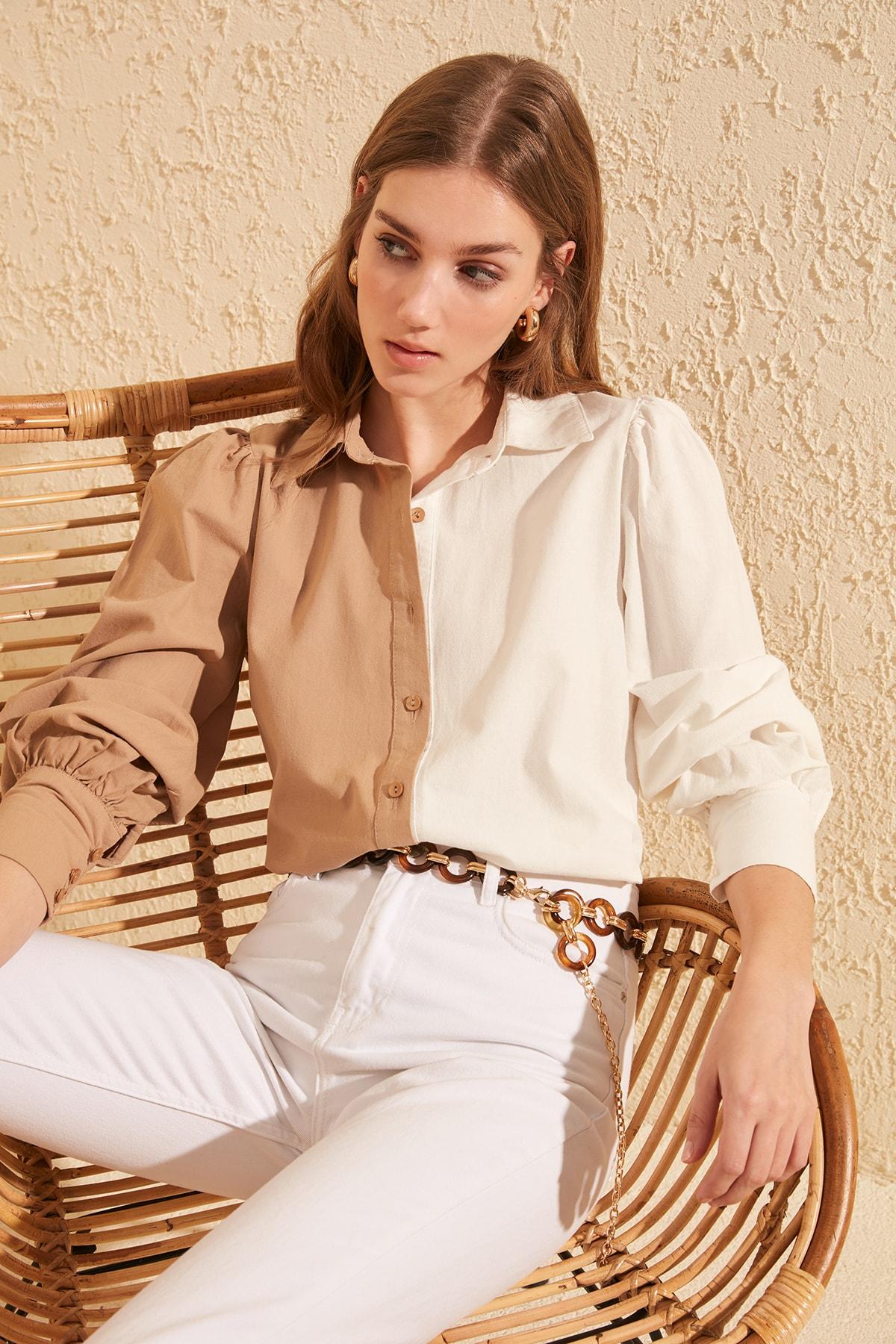 TRENDYOLMİLLA Taş Manşet Detaylı Gömlek TWOSS20GO0065 2