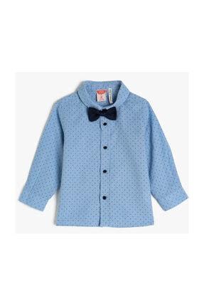 Koton Kids Mavi Desenli Erkek Bebek Gömlek