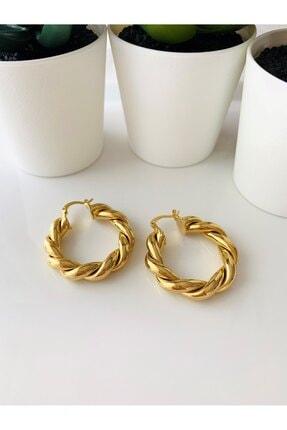 LİLY TAKI VE AKSESUAR ÜRÜNLERİ Burgu Halka Model Gold Renk Bayan Çelik Küpe