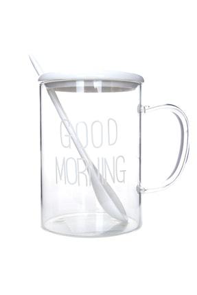 YOYOSO Good Morning Kaşıklı Kupa Beyaz
