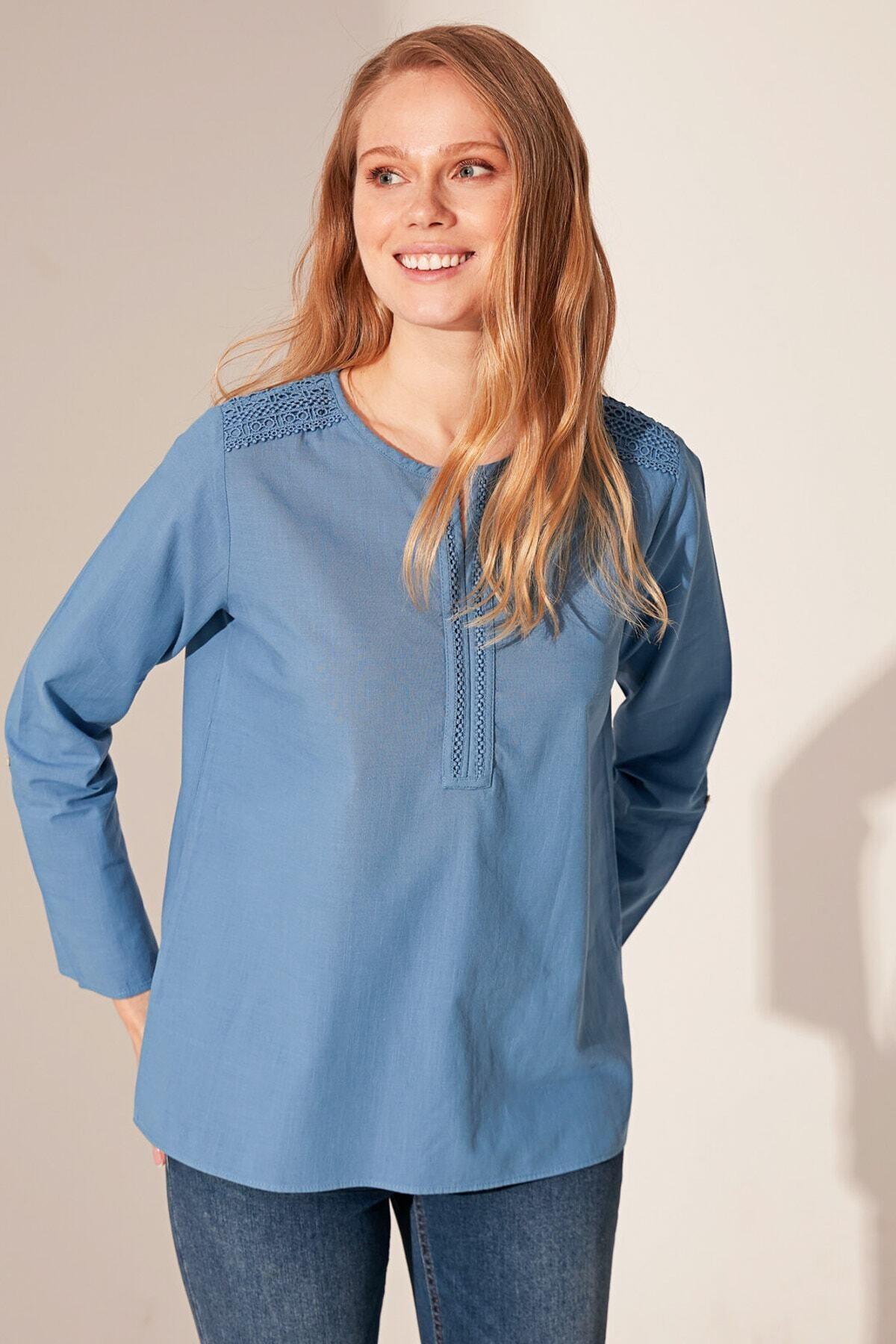 LC Waikiki Kadın Mat Mavi Bluz 1
