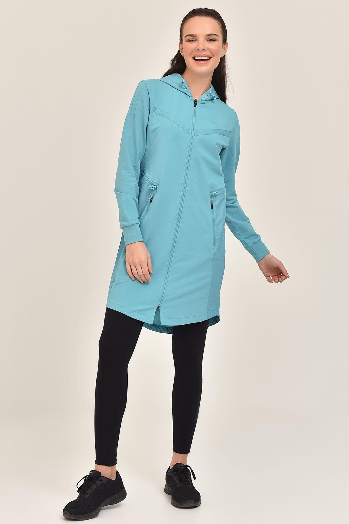 bilcee Mavi Kadın Uzun Ceket GS-1522 1