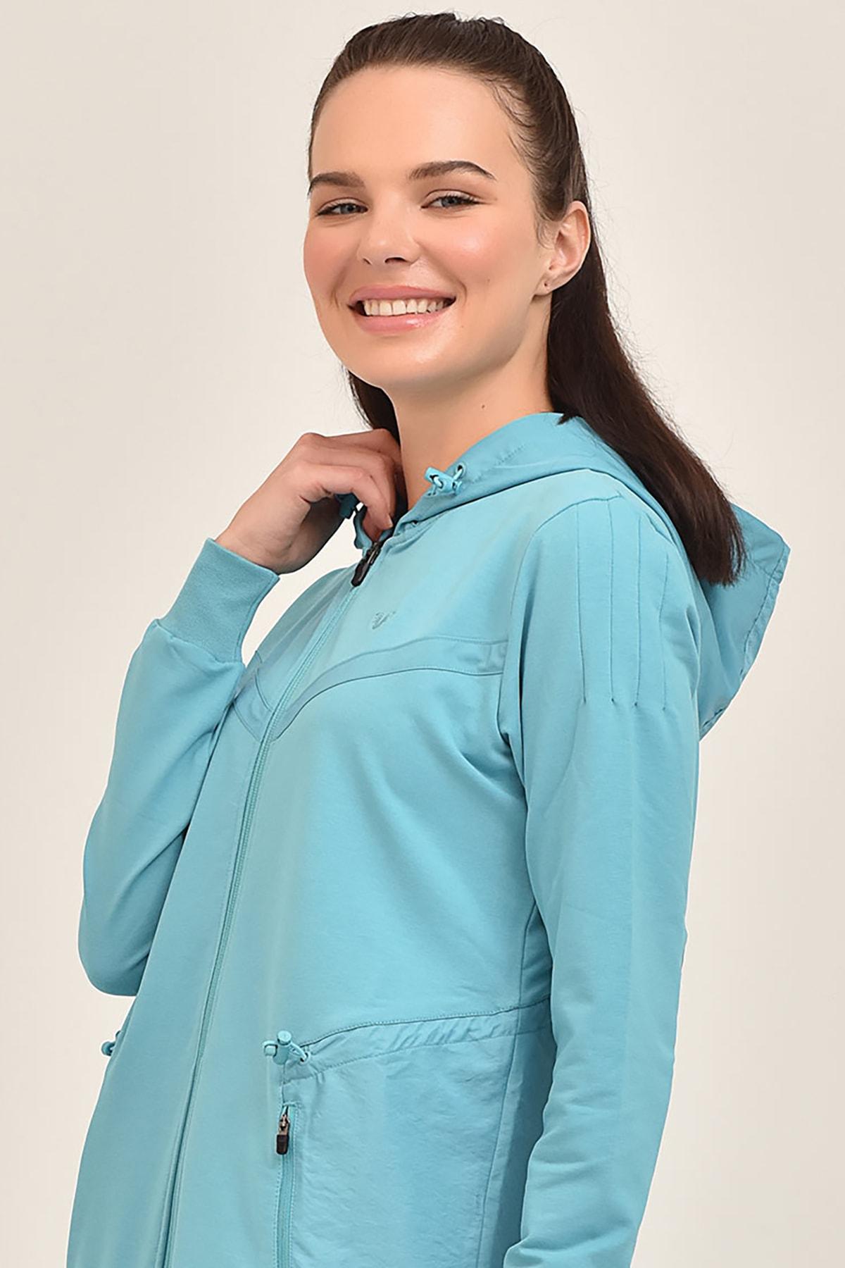 bilcee Mavi Kadın Uzun Ceket GS-1522 2