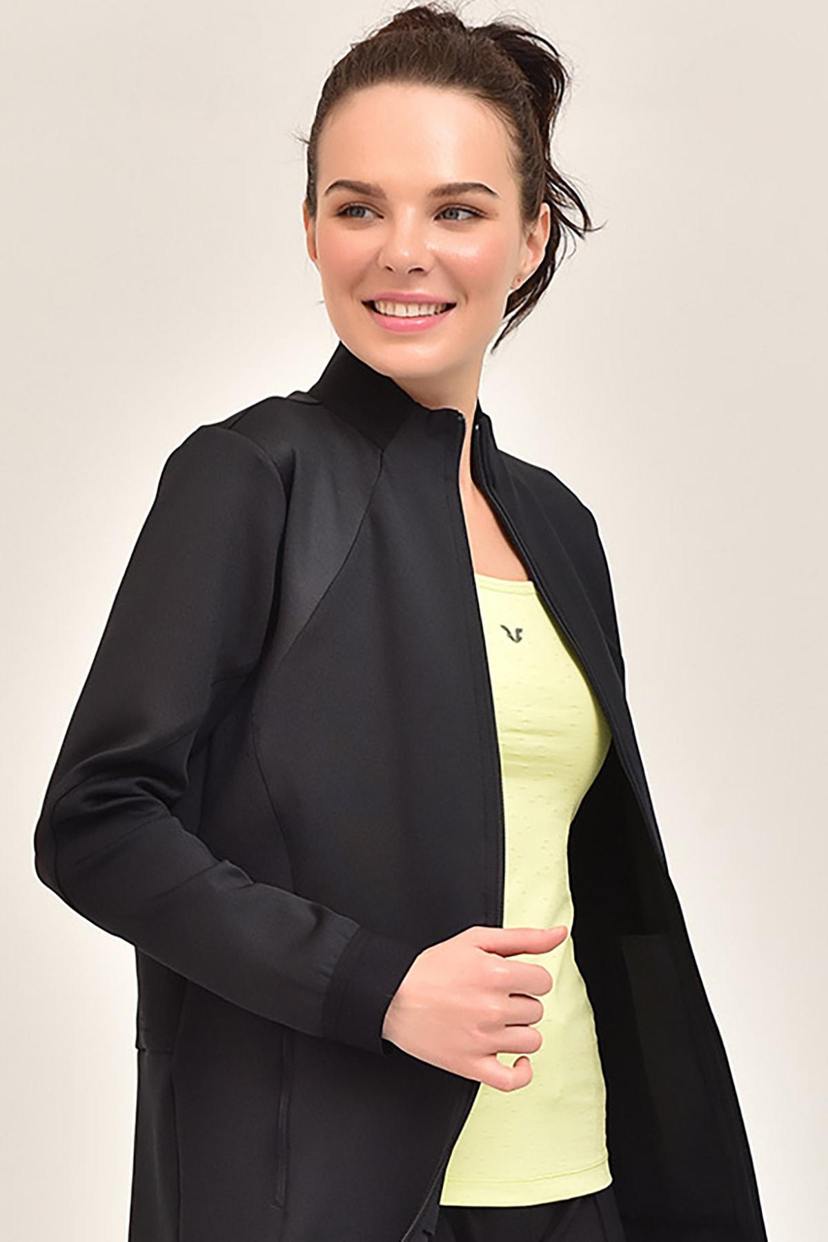 bilcee Siyah Kadın Uzun Ceket GS-1516 2