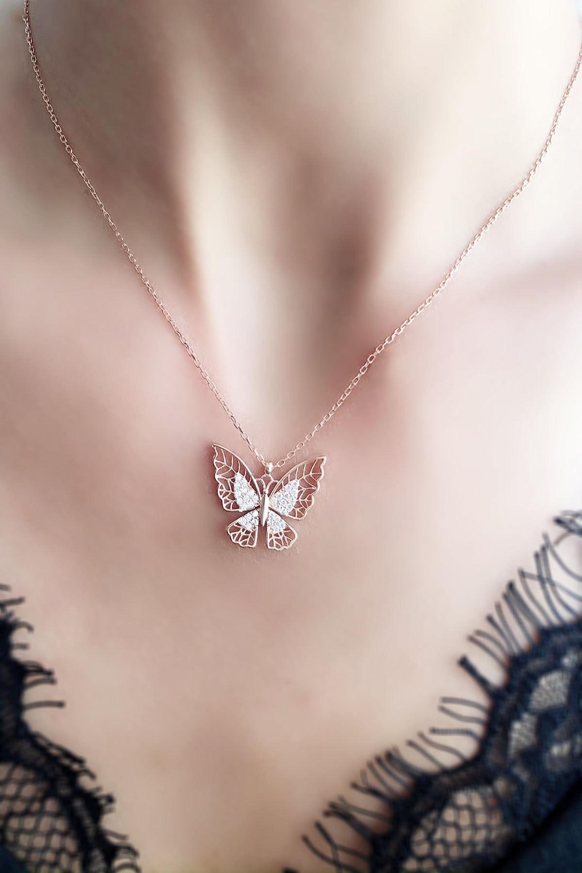 Rosa Design Kadın Telkari Kelebek 925 Ayar Gümüş Rose Kolye 2
