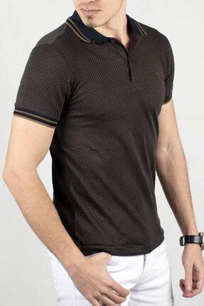 DeepSEA Erkek Lacivert Toprak Polo Yaka Desenli Düğme Detaylı Slim Fit Tişört 2000114
