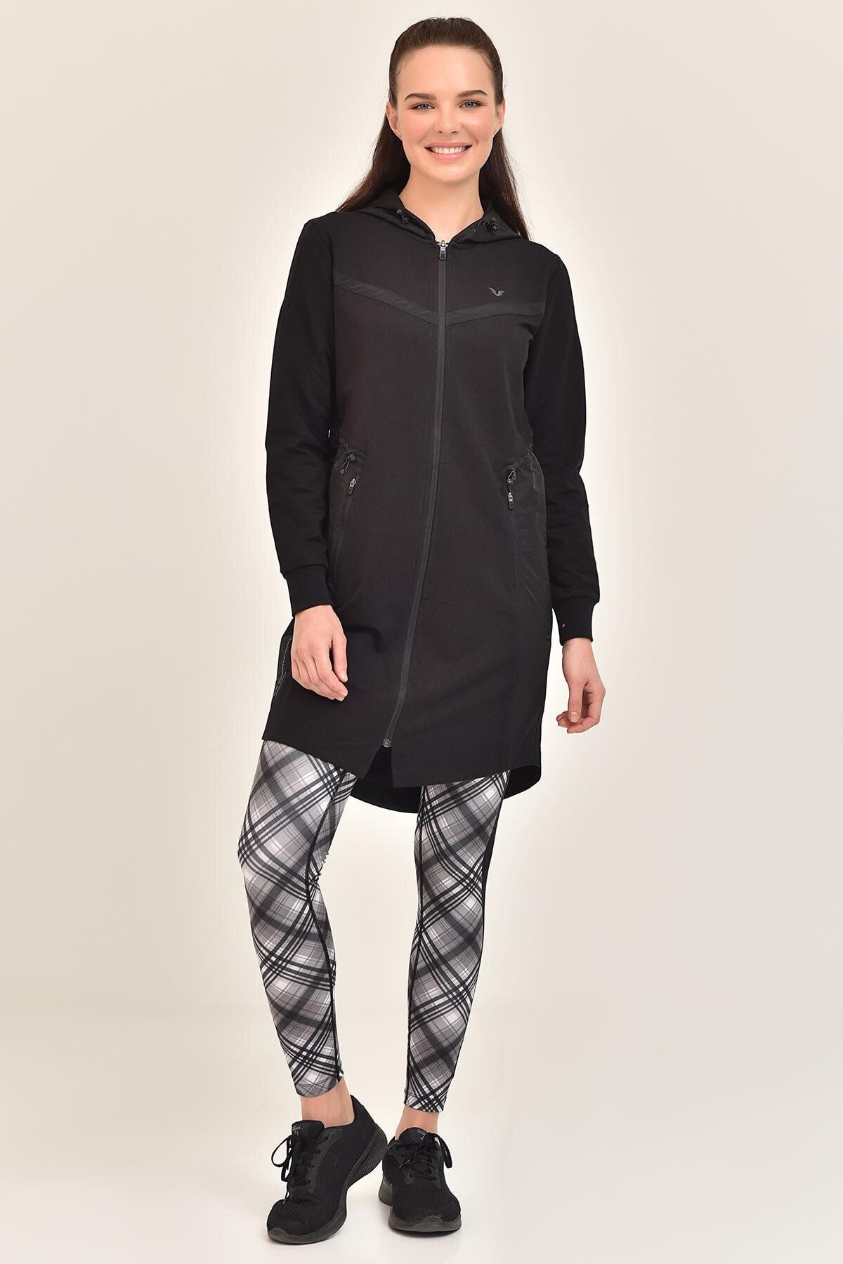 bilcee Siyah Kadın Uzun Ceket GS-1522 1