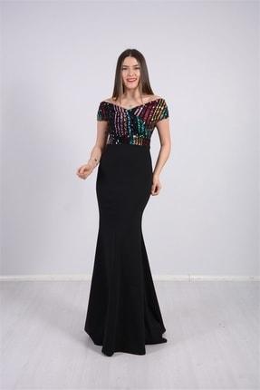 giyimmasalı Üstü Payet Altı Krep Balık Abiye Elbise - Siyah