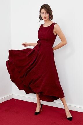 Journey Kadın Bordo Renkli Sıfır Yaka Omuz Üstü Üçgen Dekolte Etek Asimetrik Detaylı Kolsuz Elbise 19kelb092