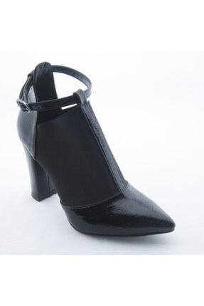 Akel Kadın Siyah Lastikli Bilekten Bağlı Stiletto