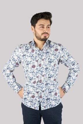 Mcr Erkek Mavi Model Çiçekli Pamuklu Gömlek 37820