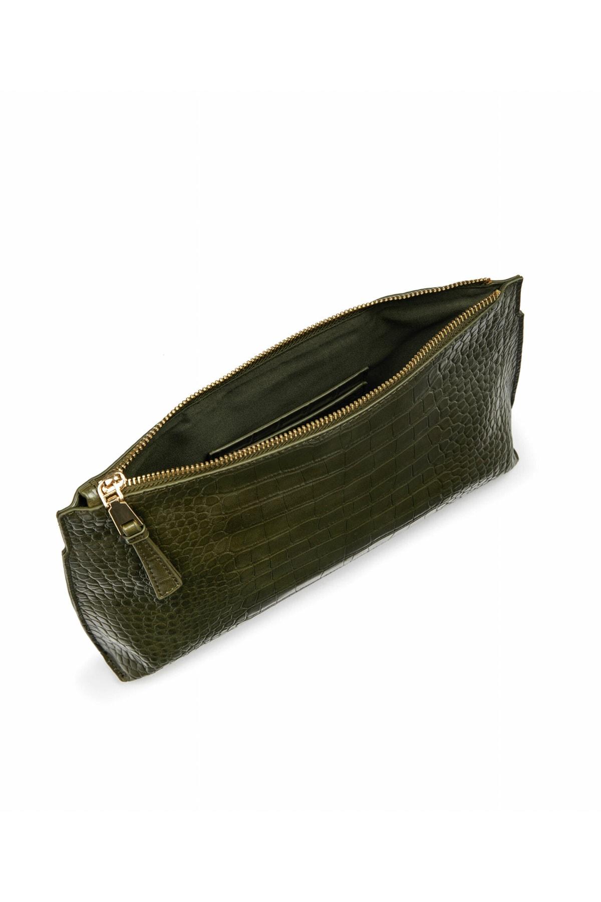 İpekyol Kadın Gri Krokodil desen çanta IW6200052001 2