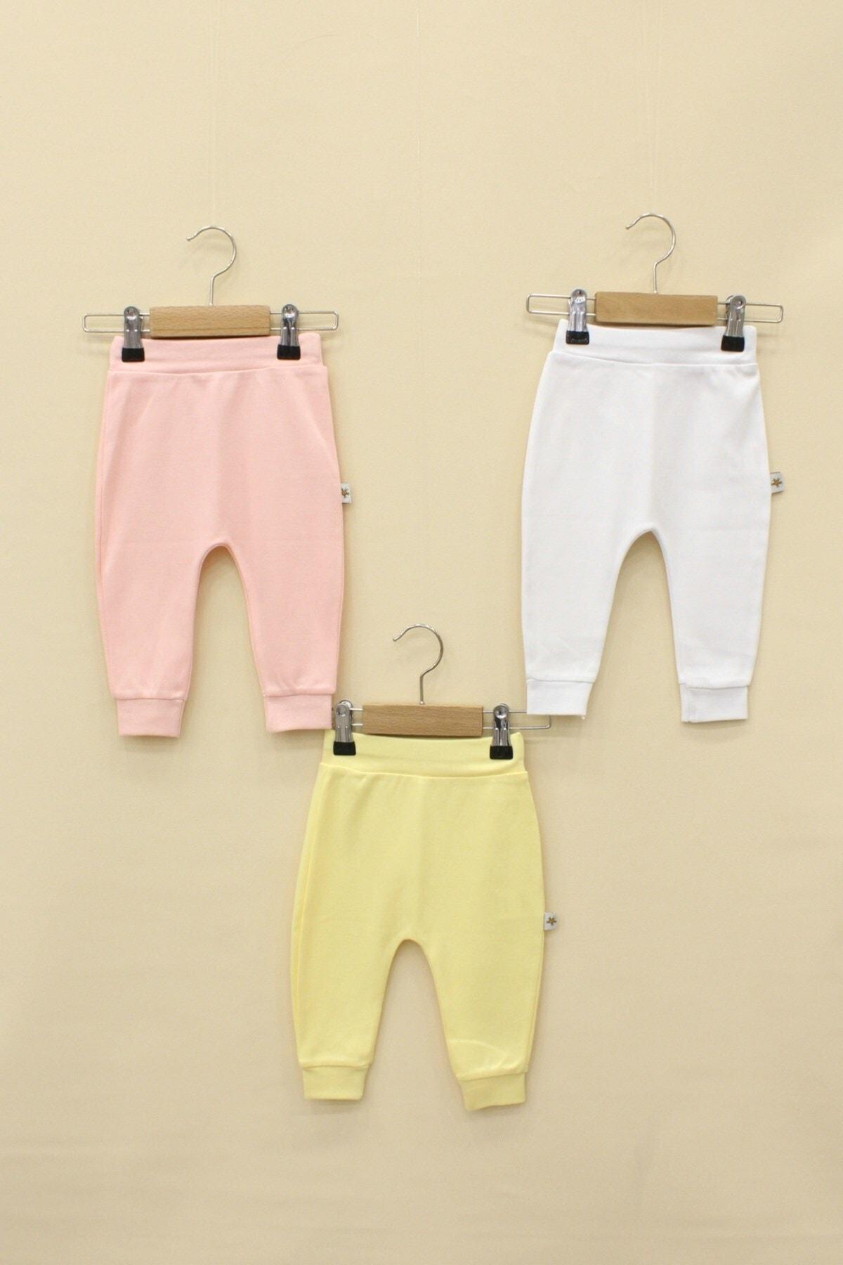 Little Life Kız Bebek Pembe Beyaz Sarı 3'Lü Pantolon Set 1