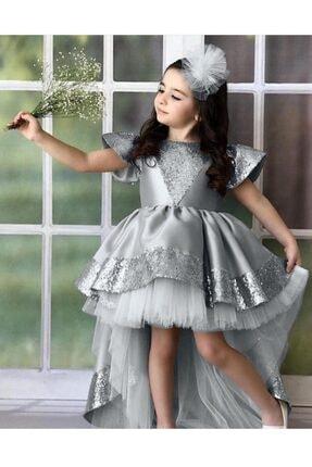 Riccotarz Kız Çocuk Gümüş Kraliçe Kuyruklu  Abiye Elbise