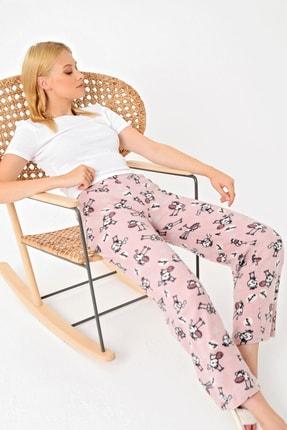 Trend Alaçatı Stili Kadın Koyu Pudra Desenli Polar Pijama Altı MTX-1007