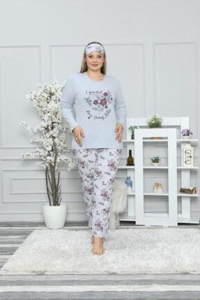 Pijamoni Kadın Buz Mavisi Likralı Şardon Lüks Pijama Takım