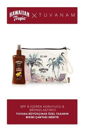 Hawaiian Tropic Spf 8 Içeren Koruyucu & Bronzlaştırıcı Yağ + Tuvanam Özel Tasarım Bikini Çantası Hediye