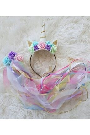 Kokoş Unicorn Taç +çiçekli Unicorn Kuyruk Özel Tasarım Doğum Günü Saç Aksesuarı
