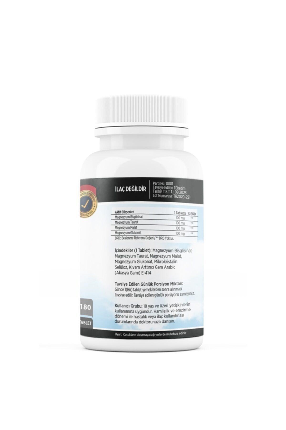 FLX Magnesium Bisglisinat Malat Taurat Glukonat 180 Tablet Magnezyum 2