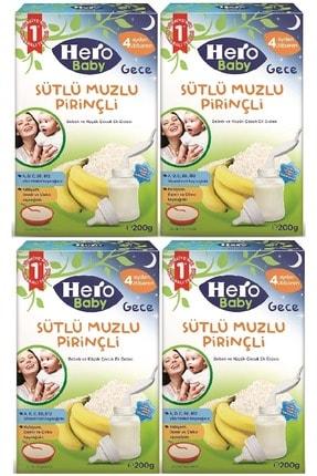 Hero Baby 200gr Gece Sütlü Muzlu Pirinçli 4 Lü Set Kaşık Maması
