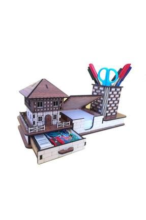 Plaket Home Ahşap Masaüstü Organizer Kalemlik Seti Ve Isimlik