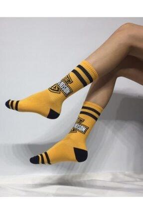 ADEL ÇORAP Unisex Sarı Soket Uzun Çorap
