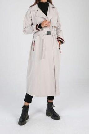 ALLDAY Kadın Bej Kol Fermuarlı Şeritli Trençkot