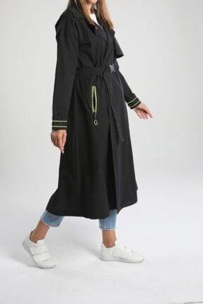 ALLDAY Kadın Siyah Kol Fermuarlı Şeritli Trençkot
