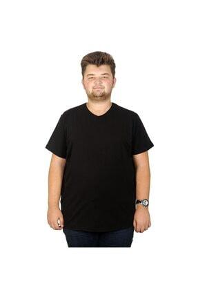 ModeXL Erkek Siyah Büyük Beden T-shirt Likralı Basic V Yaka 20150