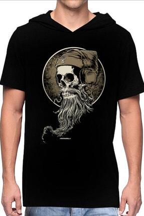 Rock & Roll Erkek Siyah Sakallı Kurukafa Kapşonlu Kısa Kollu T-shirt