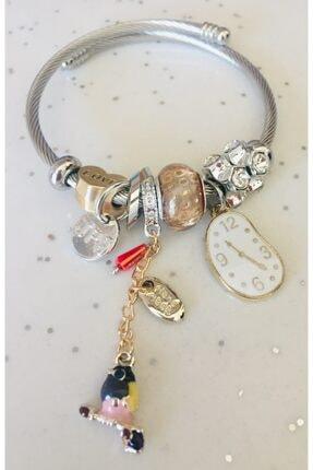 Pandora Kuş Ve Saat  Gümüş Tarzı Beyaz Bileklik