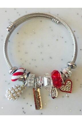 Pandora Kırmızı Inci Topuzlu Kalp Charmlı Gümüş Tarzı Şık Bileklik