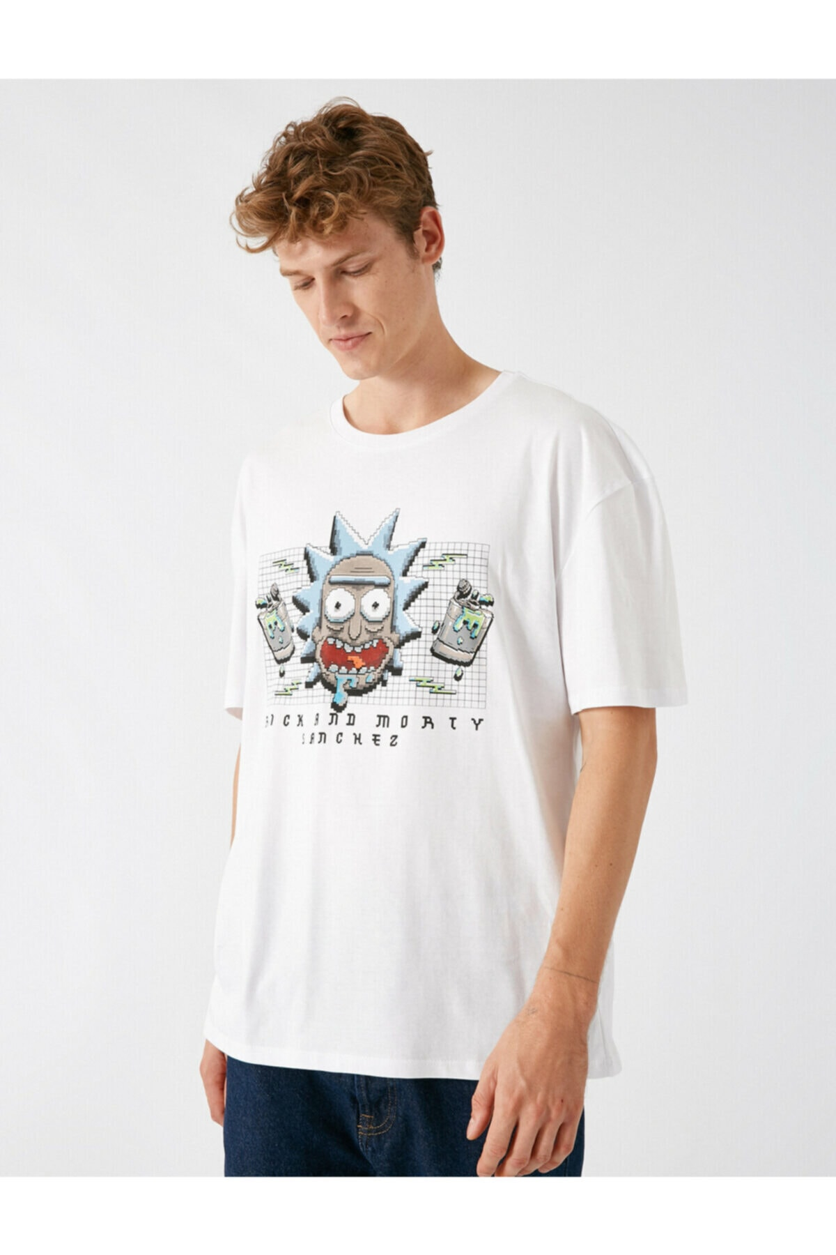 Koton Erkek Beyaz  Rick And Morty Lisansli Bisiklet Yaka Kisa Kollu Tshirt 2