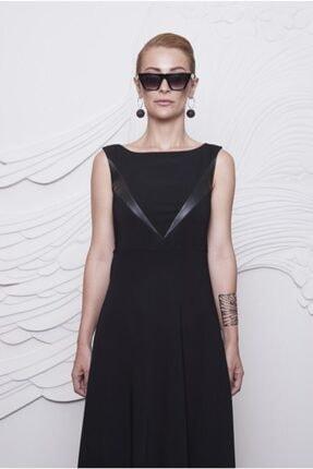 Arzu Kaprol Kadın Siyah Deri Detaylı Krep Elbise