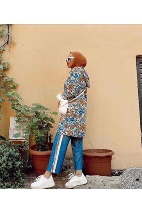 NK Kadın Mavi Cepli Desenli Pantolonlu Takım