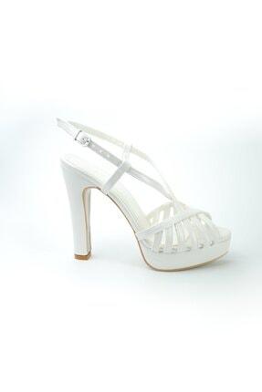 inderi Kız Çocuk Beyaz Topuklu Açık Uçlu Abiye Ayakkabı