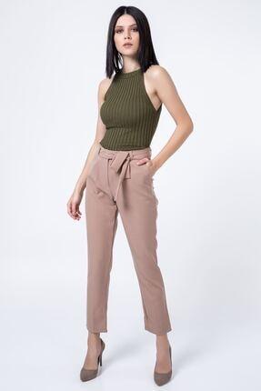 Zafoni Kadın Bel Kuşaklı Klasik Pantolon Vizon P-00001280