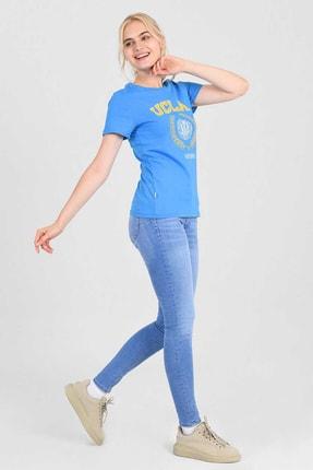 UCLA ARTESIA Mavi Bisiklet Yaka Kadın T-shirt