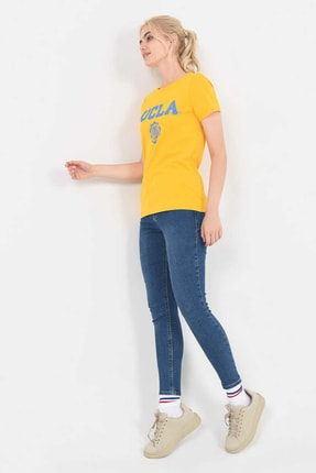 UCLA MOJAVE Sarı Bisiklet Yaka Kadın T-shirt