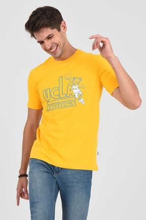 UCLA PINOLE Sarı Bisiklet Yaka Baskılı Erkek Tshirt